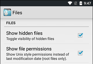 'Show hidden files on Android' settings