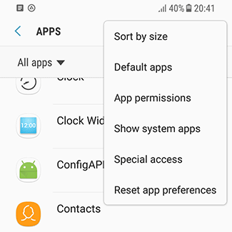 'Show system apps' settings