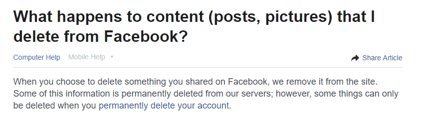 How to recover accidentally deleted Facebook posts