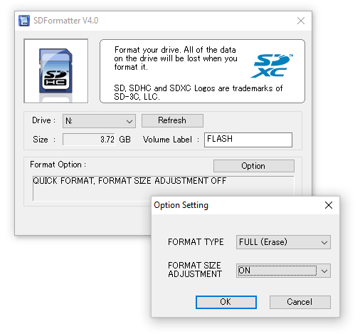 SD Memory Card Formatter app for Windows